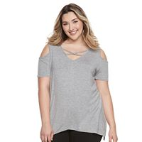Plus Size French Laundry Crisscross Cold-Shoulder Top