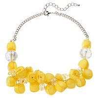 Yellow Beaded Cluster Statement Necklace