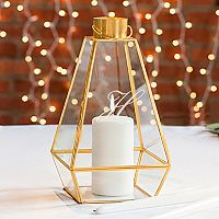 Cathy's Concepts Monogram Gold Finish Lantern Table Decor