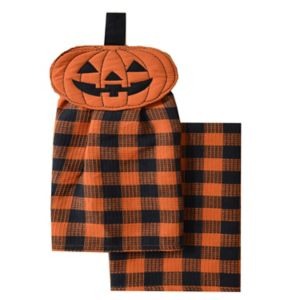 Celebrate Halloween Together Button-Top Pumpkin Kitchen Towel 2-pk.