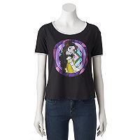 Disney's Beauty and the Beast Juniors' Stained Glass Belle Ringer Graphic Tee