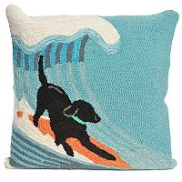Liora Manne Surfing Dog Ocean Throw Pillow