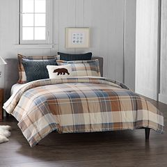Cuddl Duds 6-Piece Blue Plaid Flannel Comforter Set