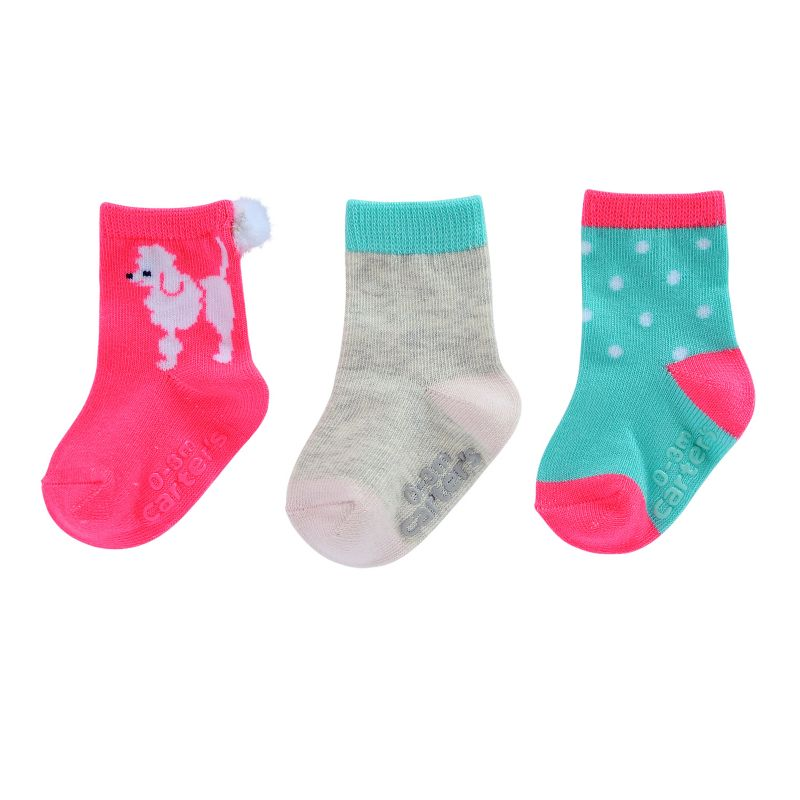 Baby Girl / Toddler Girl Carter's 3-pk. Poodle Dog & Dotted Socks, Size: 3-12 Mos, Pink Multi thumbnail