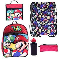 Kids Super Mario Luigi, Mario & Toad Backpack, Lunch Bag, Cinch Sack, Zip Pouch & Water Bottle Set