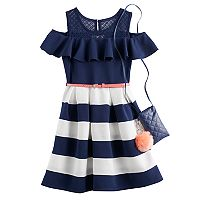 Girls 7-16 Knit Works Cold-Shoulder Textured Skater Dress with Crossbody Purse