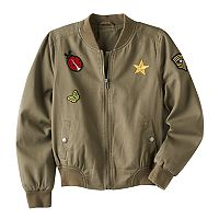 Girls 7-16 Mudd® Patched Bomber Jacket