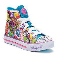 Skechers Twinkle Toes Shuffles Trendy Talk Girls' Light Up Sneakers