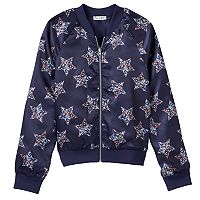 Girls 7-16 Love Fire Reversible Silky Bomber Jacket