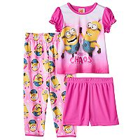 Toddler Girl Despicable Me Top, Shorts & Pants Pajama Set