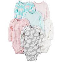 Baby Girl Carter's 6-pk. Print Long Sleeve Bodysuits