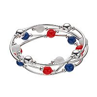 Red, White & Blue Bead Curved Tube Stretch Bracelet Set