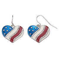 Mudd® American Flag Heart Nickel Free Drop Earrings