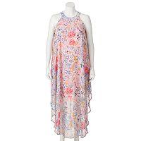 Juniors' Plus Size Wrapper Floral Halter Maxi Dress