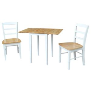 International Concepts Dual Drop Leaf Dining Table & Slat Back Chair 3-piece Set