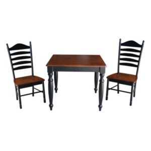 International Concepts Wood Dining Table & Slat Back Chair 3-piece Set