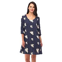 Women's Indication Embroidered Flower A-Line Swing Dress