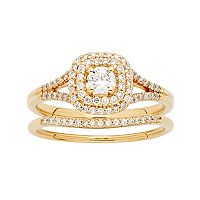 14k Gold 1/2 Carat T.W. Diamond Cushion Halo Engagement Ring Set