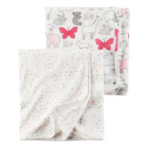 Baby Girl Carter's Heart & Animal 2-pk. Swaddles