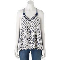 Juniors' Rewind Lace Overlay Swing Tank