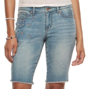 Juniors' Candie's® Embroidered Star Jean Bermuda Shorts