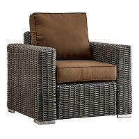 HomeVance Ravinia Charcoal Wicker Patio Arm Chair