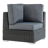 HomeVance Ravinia Charcoal Wicker Patio Corner Chair