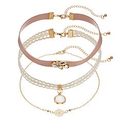 Mudd Lace, Pink Faux Leather & Openwork Medallion Choker Necklace Set