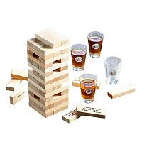 Game Night Tipsy Tower Wooden Block & Shot Glass Set