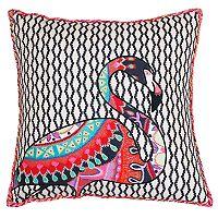 Thro by Marlo Lorenz Zazu Flamingo Embroidered Throw Pillow
