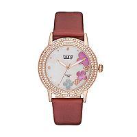 burgi Women's Floral Diamond & Crystal Leather Swiss Watch