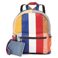 AmeriLeather Berne Leather Striped Patchwork Backpack with Coin Purse