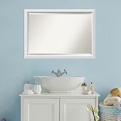 Amanti Art Blanco White Framed Wall Mirror by