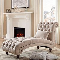 HomeVance Tufted Chaise Lounge Chair & Pillow 2-piece Set