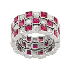 Sterling Silver Lab-Created Ruby & White Sapphire Stack Ring Set by