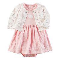 Baby Girl Carter's Bunny Dress & Heart Cardigan Set