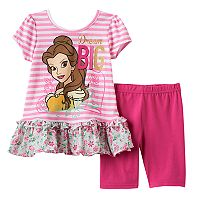 Disney's Beauty & the Beast Toddler Girl Belle Ruffle Top & Capri Leggings Set