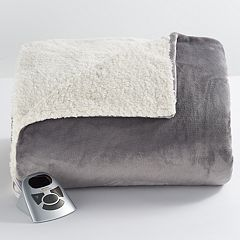 Biddeford Heated Velour Sherpa Fleece Blanket by