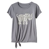 Girls 7-16 Miss Chievous Embellished Crochet Applique Tie-Front Tee