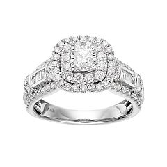 Simply Vera Vera Wang 14k White Gold 1 1/4 Carat T.W. Diamond Square Halo Engagement Ring by
