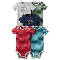 Baby Boy Carter's 5-pk. Short Sleeve Mommy & Daddy Striped Bodysuits