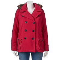Juniors' Plus Size Urban Republic Wool Blend Double-Breasted Peacoat