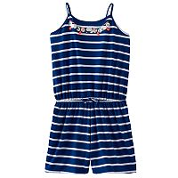 Girls 7-16 & Plus Size SO® Embellished Neck Pattern Romper