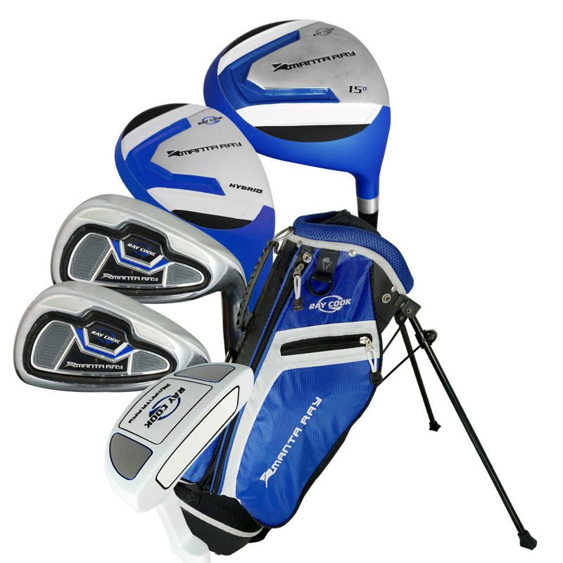 Ray Cook Manta Ray 9-12 Junior 8-Piece Left Hand Golf Clubs & Stand Bag Set, Blue thumbnail