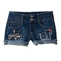 Girls 7-16 Vanilla Star Sequin Patch Jean Shorts
