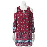 Juniors' Almost Famous Floral Cold-Shoulder Peasant Dress