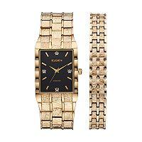Elgin Men's Diamond Textured Watch & Bracelet Set