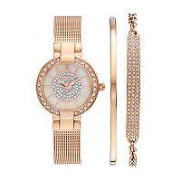 Elgin Women's Cubic Zirconia Pave Mesh Stainless Steel Watch & Bracelet Set