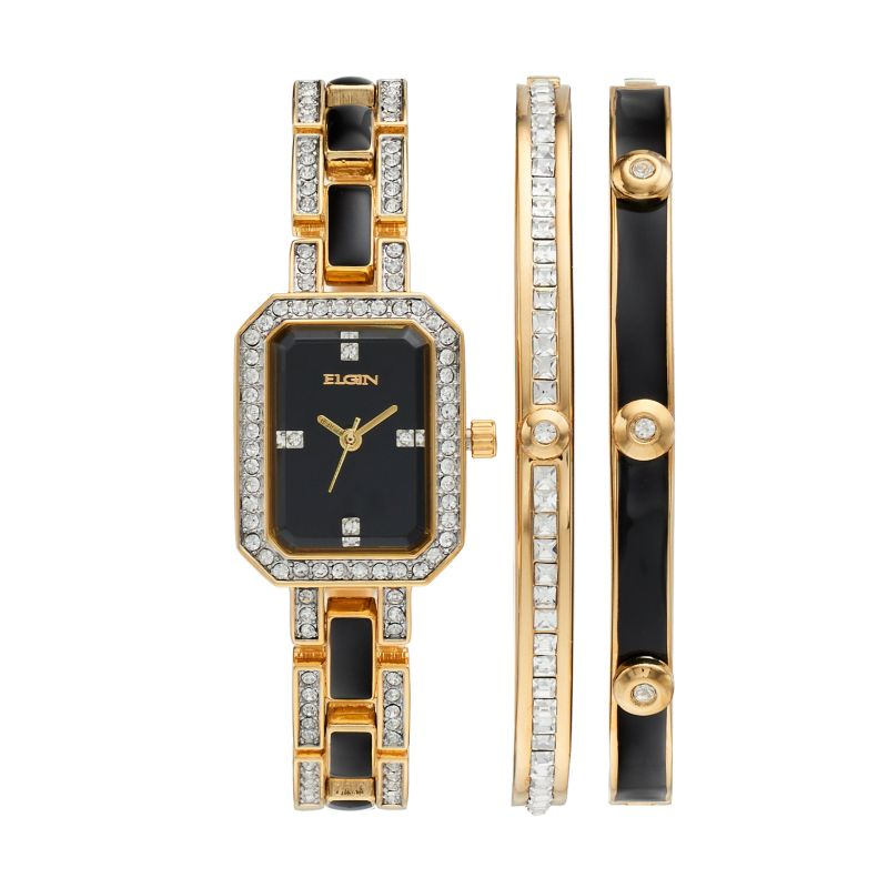 Elgin Women's Cubic Zirconia Two Tone Watch & Bracelet Set, multicolor thumbnail