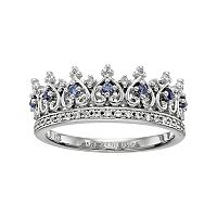 Sterling Silver Lab-Created Blue & White Sapphire Crown Ring